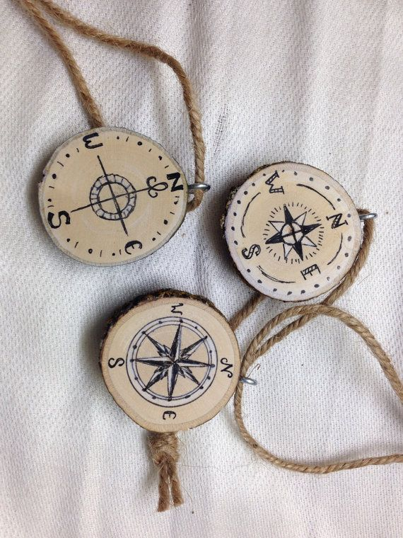 "Compass Designs 1.5 ""Tree Slice Christmas Tree Ornaments (Set of 3) / Travel / Adventure Lost Forest /"