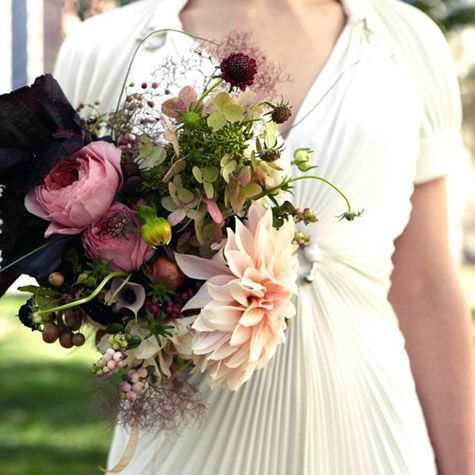 modern garden-style bouquet - peony, dahlia, hydrangea, ranunculus, calls, and assorted berries and foliage.  http://www.designsponge.com/2009/10/fruitfloral.html#