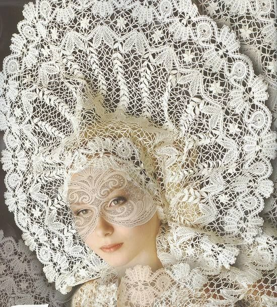 Russian styled kokoshnik, lace