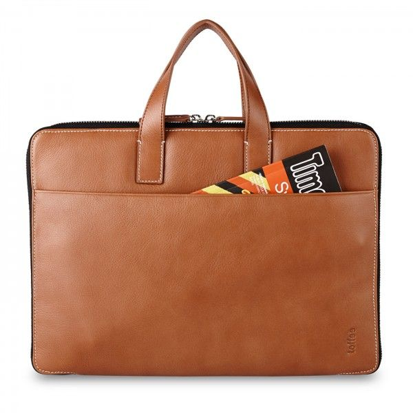 Toffee Slim leather brief for MacBook