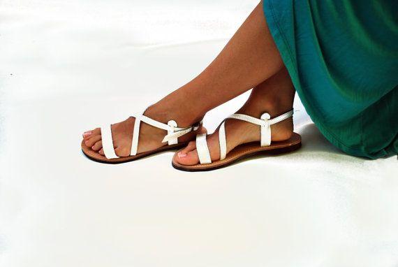 White Sandals Women Leather Sandal by NikolaSandals on Etsy, $48.00