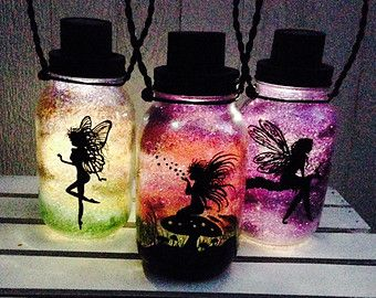 Tinker Bell Fairy Day OR Night Mason Jar by CareBaresCreations