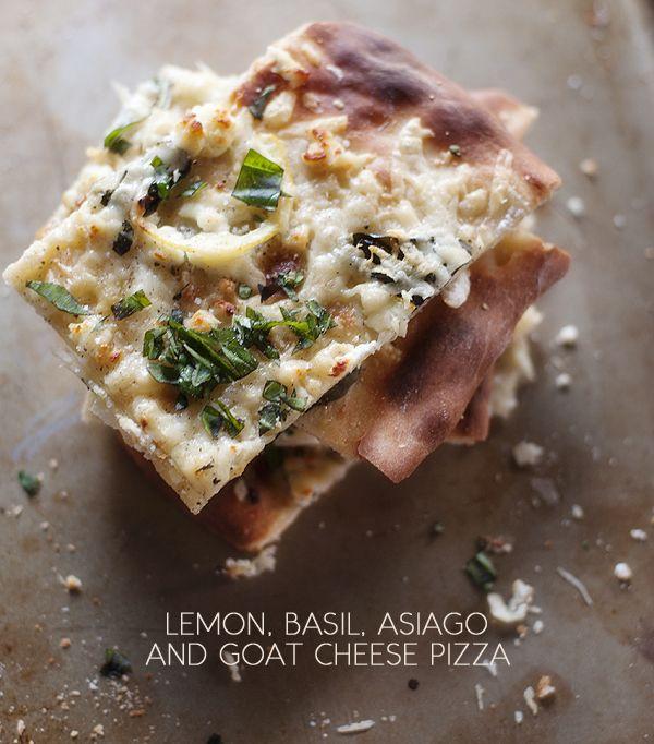 lemon, basil, asiago and goat cheese pizza | www.prettyplainjanes.com