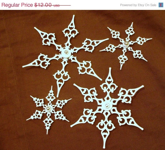 XMAS SALE Set of FOUR- Steampunk Snow Crystal Clock Hand Holiday Ornaments- White or Gold