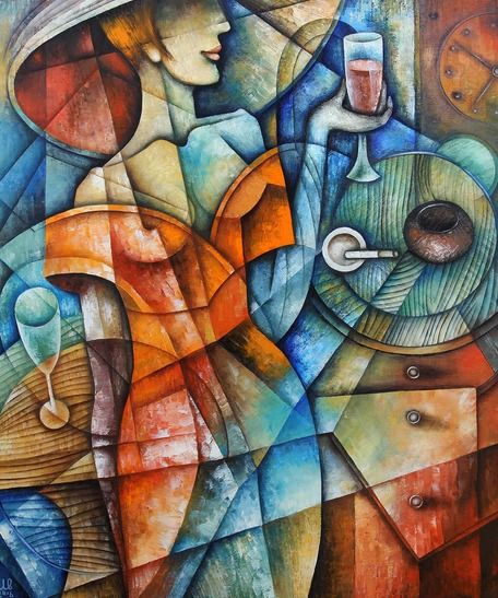 Wine And Cigarettesby Eugene Ivanov  #eugeneivanov #cubism #avantgarde #threedimensional #cubist #artwork #cubistartwork #abstract #geometric #association #@eugene_1_ivanov
