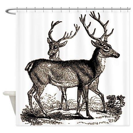 Vintage Deer Shower Curtain On CafePress.com