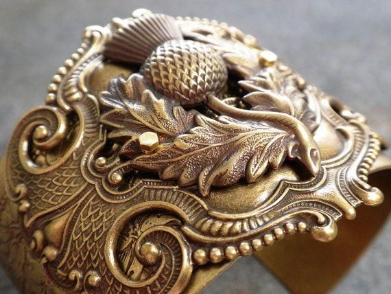 Scottish Thistle Cuff Bracelet by Serrelynda on Etsy, $62.00