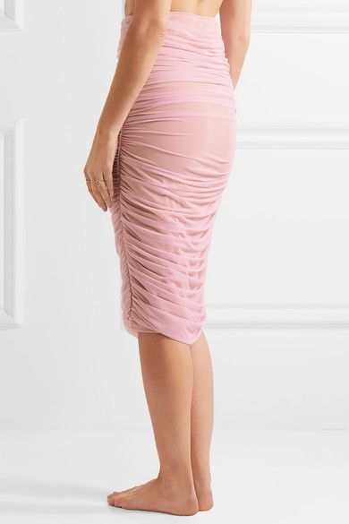 Norma Kamali - Ruched Stretch-tulle Skirt - Pastel pink - x small