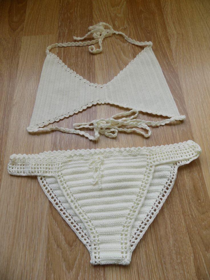 Crochet bikini set,crochet swimwear,crochet swimsuits,crochet bathsuits,Cream bikini,summer trend,retro bikini,boho bikini,gypsy,boho,bikini by pompomhats on Etsy