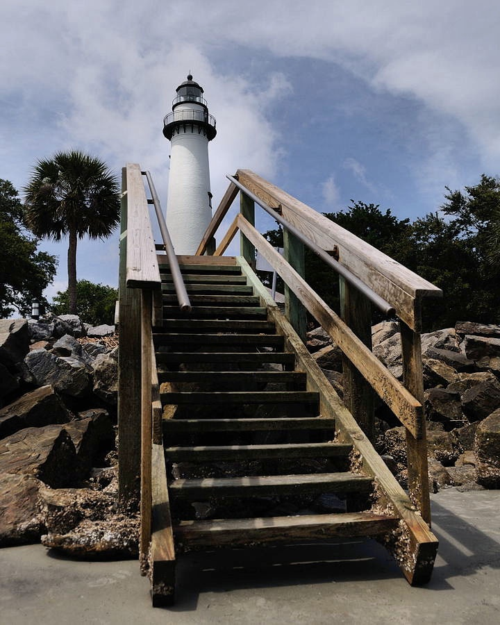 Awesome shot with us on the steps....Lighthouse Tower: St. Simons Island, GA