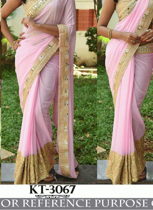 Fabfirki New Pink & Gold Georgette Designer Party Wear Saree