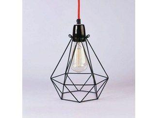 Lámpara colgante / lámpara de mesa de metal BLACK CAGE RED FABRIC WIRE - FILAMENTSTYLE