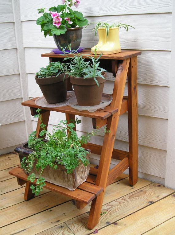Outdoor plant stand see more ideas about outdoor plant for Herb stand ideas