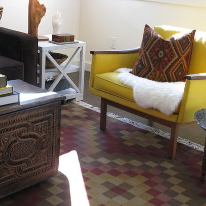 Mid Century Modern Chair Kilim Rug And Antique Trunk