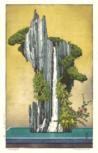 Yoshida-Toshi-Waterfall-Japanese-Woodblock-Print