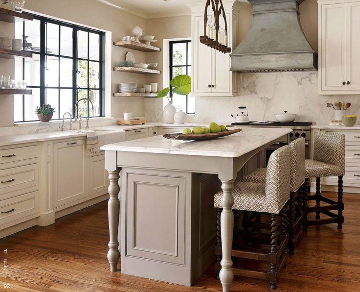 Kitchen range hood black window frames island bench for Black country kitchen