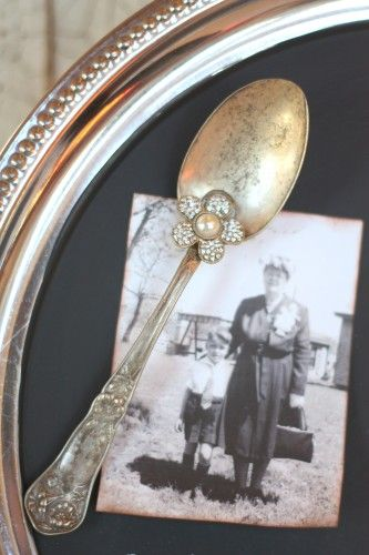 Magnet made with Vintage silver spoon and a jewel on a silver tray painted with chalkboard paint