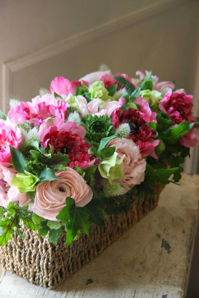 Beautiful Pink Peony Flower Arrangement in a woven twine ...