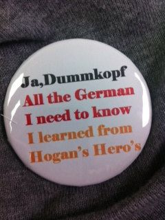 German Oktoberfest Button Pin Hogan's Heros by FatCats on Etsy, $2.00