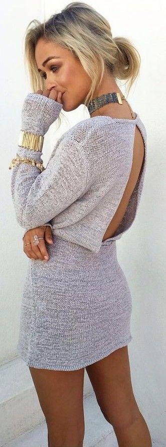 Grey Knit Dress + Pop Of Gold                                                                             Source