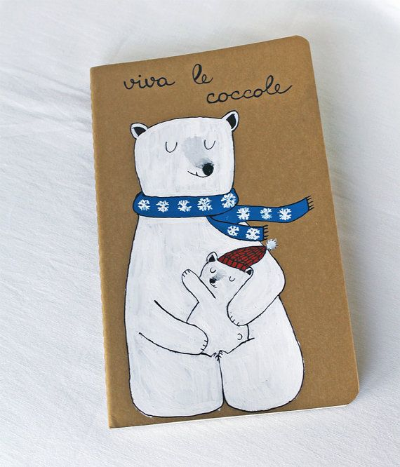 Moleskine journal with mother bear holding her by LaDouceurDuMiel, €15.00
