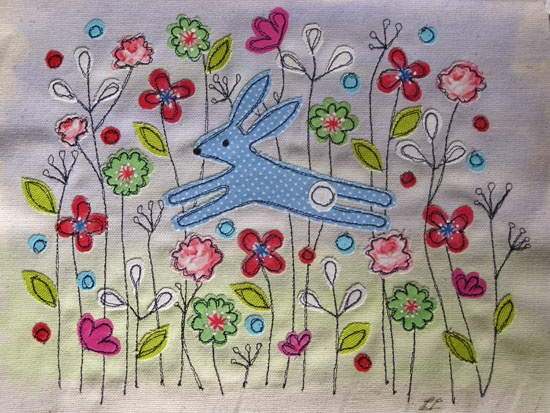 Two Little Flowers: Fabric Picture from Lucy Levenson