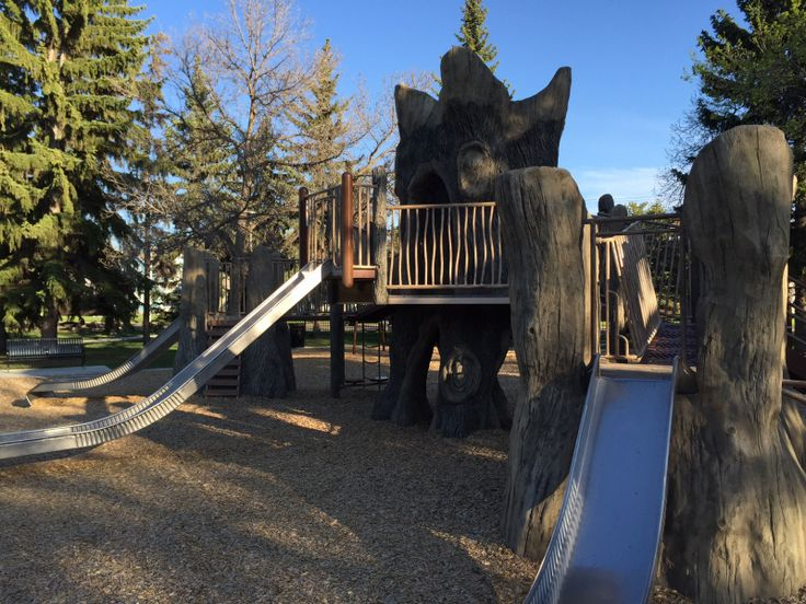 Borden Park, in Edmonton. One of our favorite playgrounds in the city, Shade, public art, a fountain and a treehouse play structure - it doesn't get any better than that!