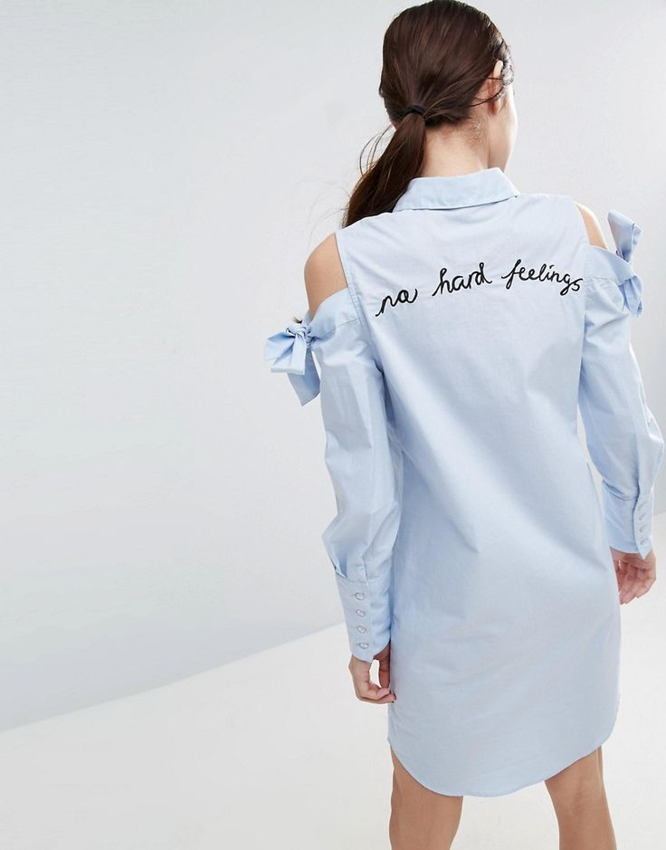 ASOS Shirt Dress with Oversized Cuff & Embroidery Detail - Blue