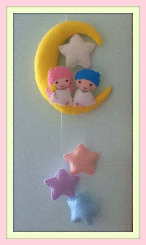free shipping ROOM on the MOON for two wonderful felt star twins wall hanging art. $60.00, via Etsy.