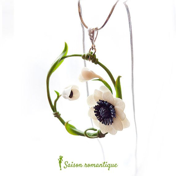 Pendant Winter Tale Anemone - Polymer Clay Flowers