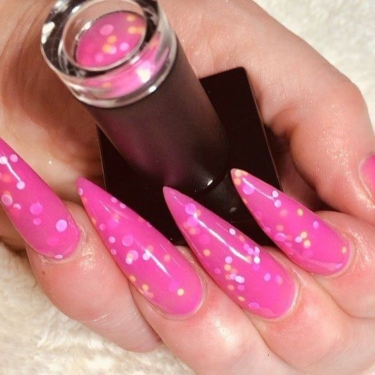 Almond shaped nails with polka dot hot pink gel polish. Beautiful nails by @janebaileynails with Ugly Duckling #84 gel polish  Ugly Duckling Nails page is dedicated to promoting quality, inspirational nails. Tag us and mention what Ugly Duckling products you used for a chance to be featured:sparkli
