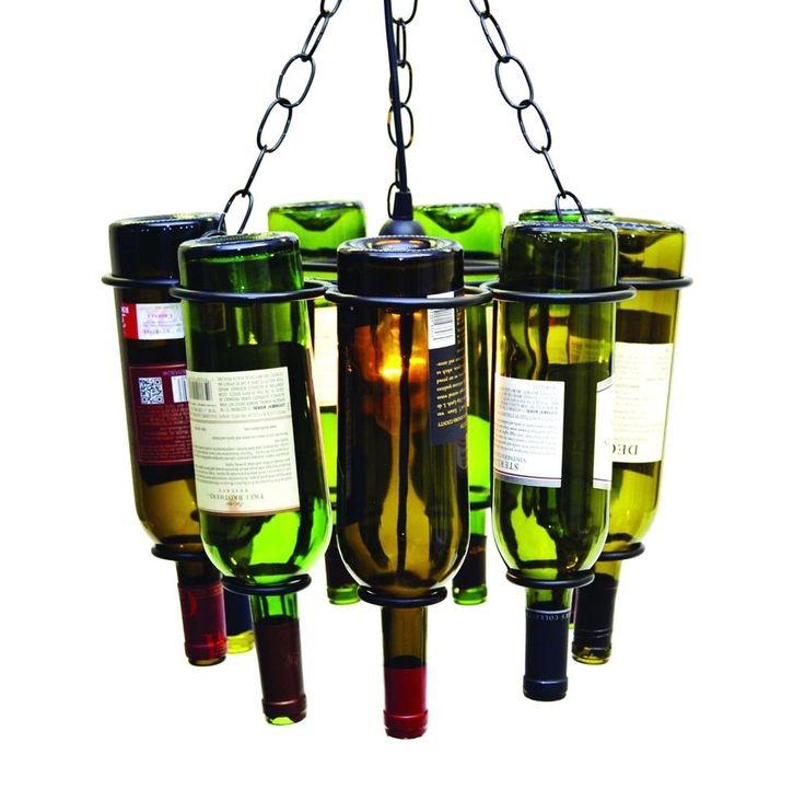 """Hanging Wine Bottle Pendant Lamp, Holds 9 Empty Wine Bottles. 11.5 """" H X 15"""" D  #LAREDO"""