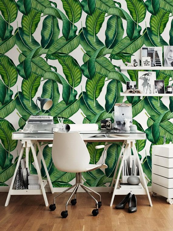 Big Leaves Wall Decal Botanical Leaves Removable Wallpaper Etsy Removable Wallpaper Leaf Wallpaper Wall Decals