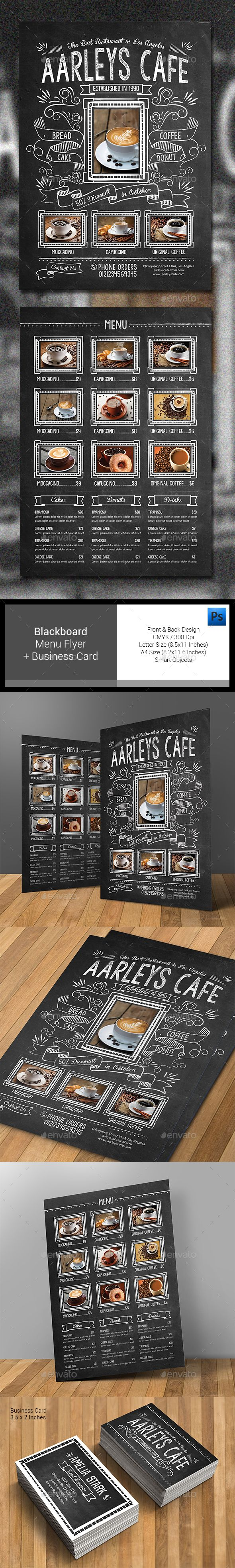 Blackboard Food Menu Flyer - Food Menus Print Templates