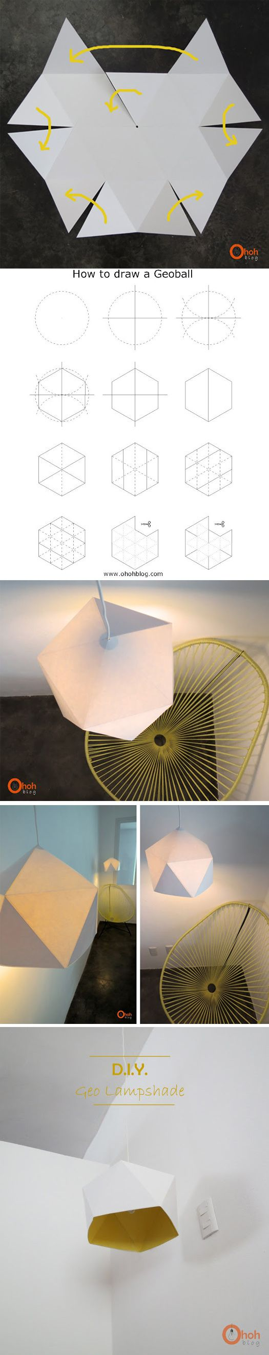 faire une lampe géométrique en papier