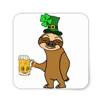 Funny Sloth Drinking Beer St. Patrick's Day Art Square Sticker - st. patricks day gifts irish ireland green fun party diy custom holiday