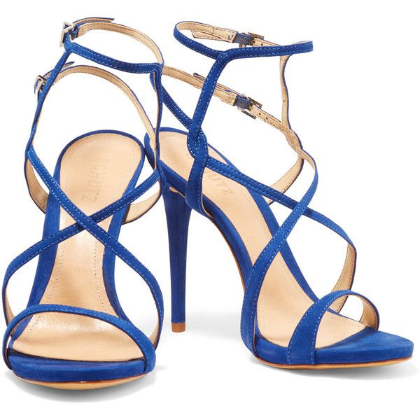 Schutz Maggy nubuck sandals found on Polyvore featuring shoes, sandals, heels, ankle tie sandals, schutz shoes, high heel ankle strap shoes, high heel shoes and cobalt blue shoes
