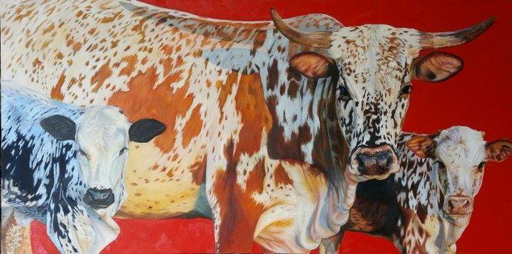 Nguni cattle, oil on canvas.  By Natasha Pretorius