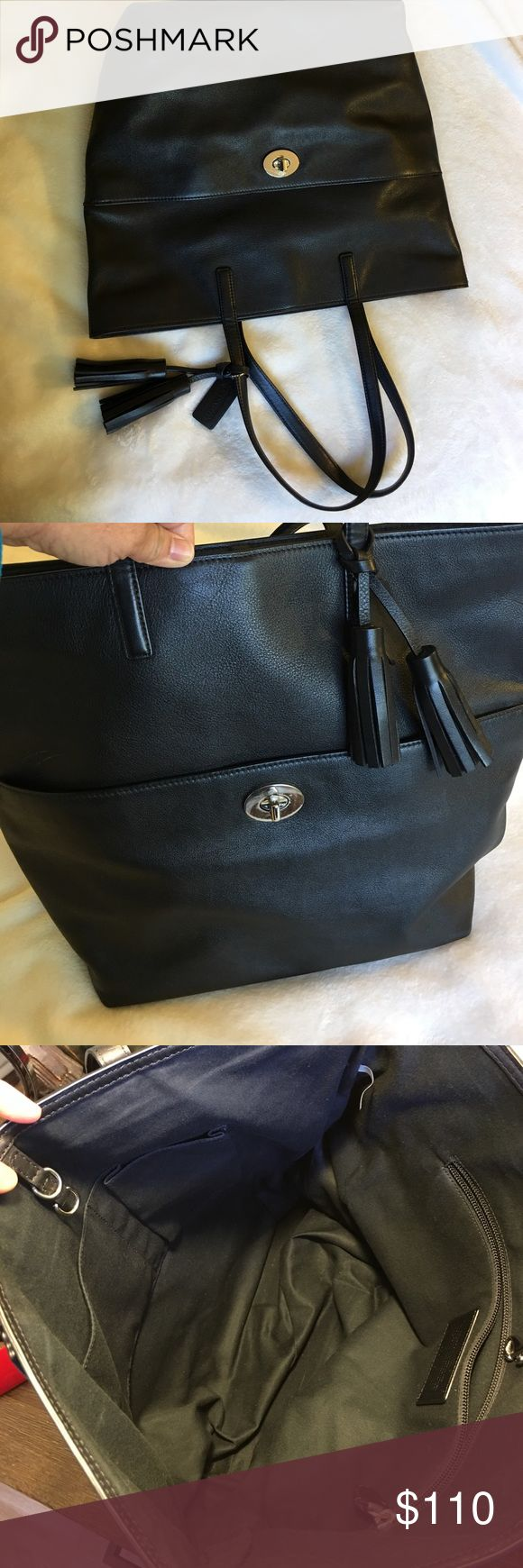 Coach Legacy Tassel Turnlock Tote, black leather Barely used Coach Legacy Tassel Turnlock tote in black leather.  Very clean, almost like new condition. Coach Bags Totes