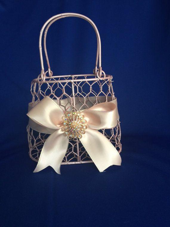 Flower Girl Basket Blush : Best images about blush flower girl basket on