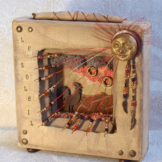 Mixed Media Art Collage Shadowbox Diorama with Sun and by rrizzart, $65.00