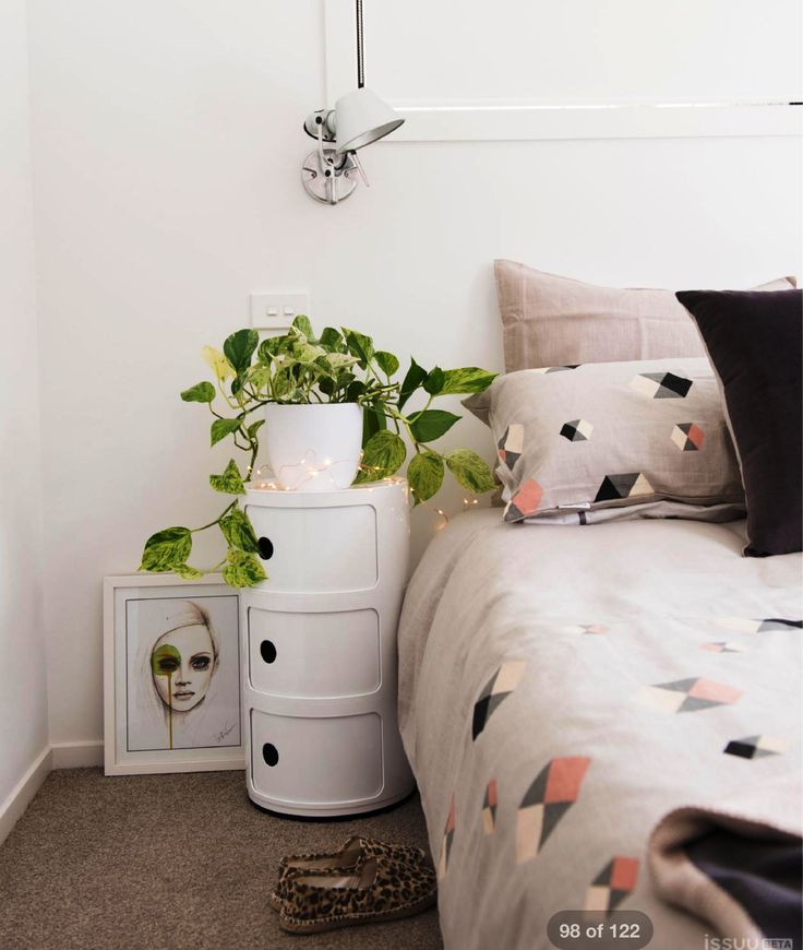 Michelle's Scandinavian style bedroom looks immaculate. Michelle used Mocka's Post Box 3 as her bedside table. Available in additional colours and sizes from www.mocka.co.nz