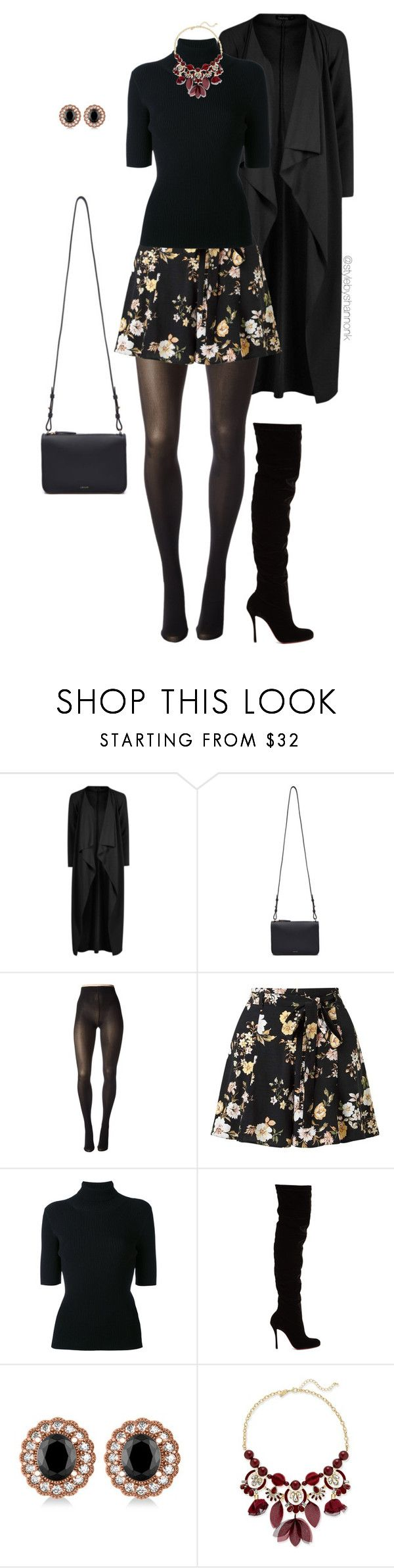"""""""Dark Florals"""" by stylebyshannonk on Polyvore featuring Boohoo, Cuero&Mør, Pretty Polly, Miss Selfridge, Valentino, Christian Louboutin, Allurez and INC International Concepts"""