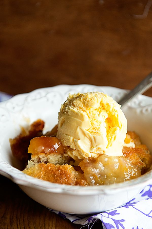 Peachy Days {Recipe: Super Simple Whiskey Peach Cobbler} from Kristen at @dineanddish