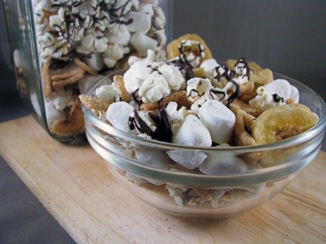 Banana S'more Popcorn Trail Mix combines the flavors of s'mores with banana chips and popcorn and the result is epic.