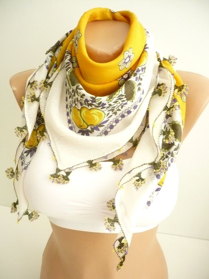 Turkish needle laced scarf / Handicraft vintage yellow - white scarf / organic cotton foulard / floral hand-printed kerchief / gift for her by TurkishAccessories on Etsy