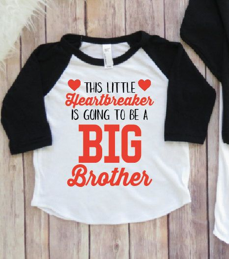 Valentine's Day Baby Announcement, Big Brother Shirt, Big Sister Shirt, Heartbreaker, Valentines Day Raglan, New Baby, Sibing Shirt, Match by KyCaliDesign on Etsy