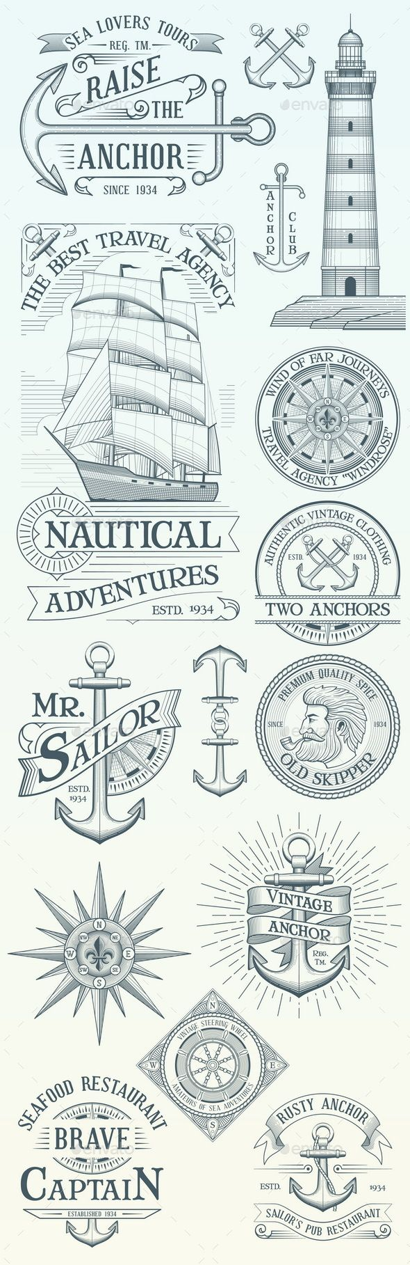 Set of Vintage Nautical Labels and Badges — Photoshop PSD #anchor #collection • Available here ➝ https://graphicriver.net/item/set-of-vintage-nautical-labels-and-badges/20856714?ref=pxcr
