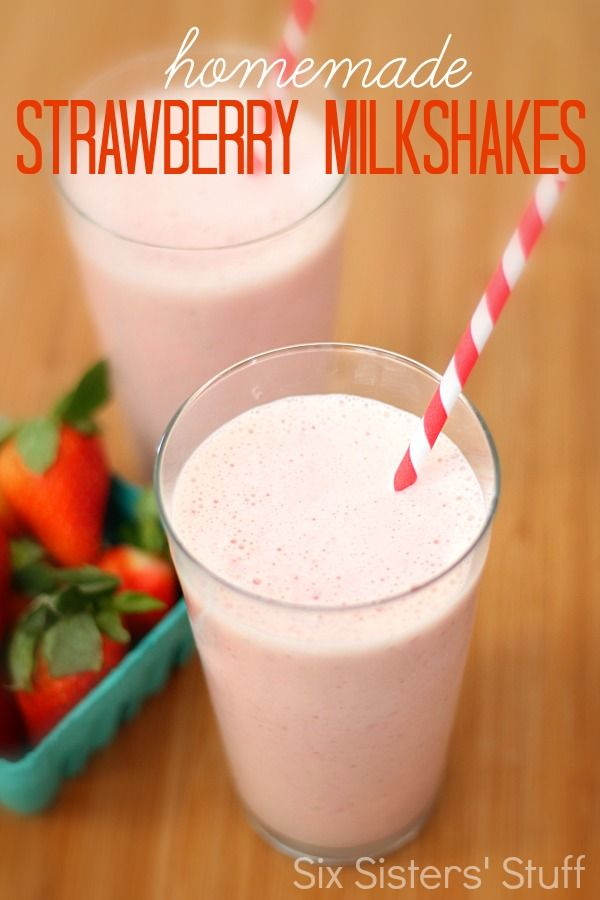 Homemade Strawberry Milkshake from SixSistersStuff.com.  No need to go out when you can make this restaurant worthy treat at home! #sixsistersstuff