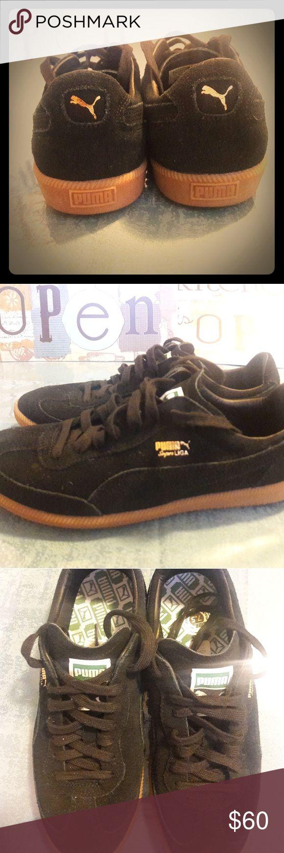 Black suade pumas Black suade pumas used one time ...clean Puma Shoes Sneakers
